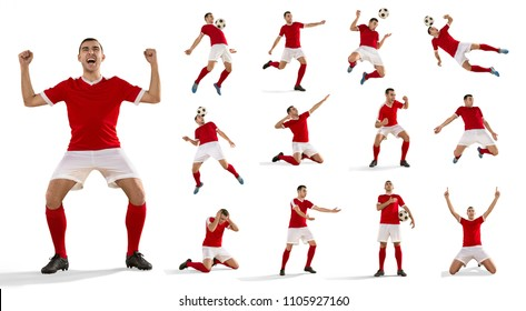 Professional man - football soccer player with ball isolated white studio background. Collage with one fit male model. The professional football, soccer player concept. The attack, defense, fight
