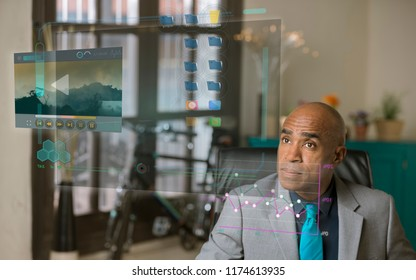 Professional man reading a futuristic computer screen
