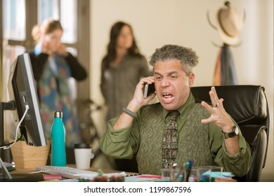 Professional man yelling on the phone