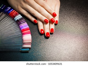 Professional manicure in salon. Red color. Decorative natural cosmetics. Close up concept. Beauty black background. Hands polish manicure nails. Pallet set color.