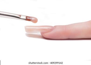 Professional manicurist applying liquid acrylic to nail extensions. macro