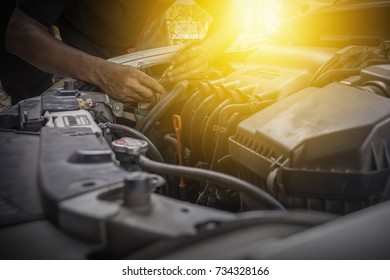 Professional mechanic car  working in auto service center