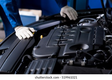 Professional mechanic checking car engine