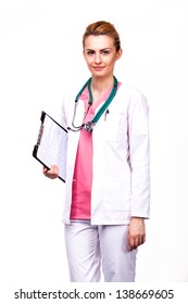 professional medic holding a clipboard with stethoscope on white