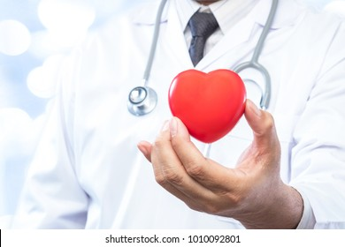 Professional medical doctor holding a red heart ball on blur office in the hospital and bokeh background. Concept of health care.