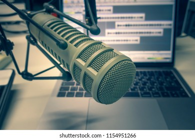 Professional microphone and laptop
