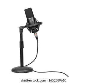professional microphone on a desktop stand isolated over white with clipping path