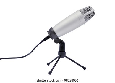 a professional microphone on a white background