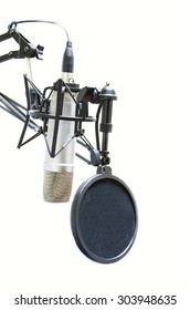 professional microphone with pop filter isolated on white background