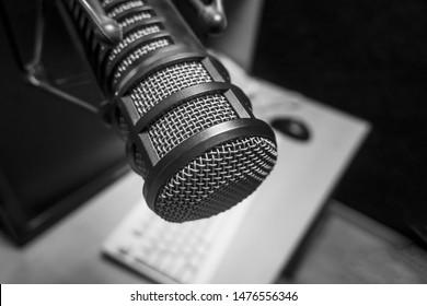 Professional microphone in radio station studio