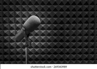 Professional microphone in a recording studio