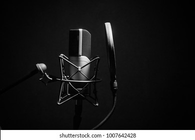 Professional Microphone in Recording Studio, Professional Studio, monochrome Background with space for text