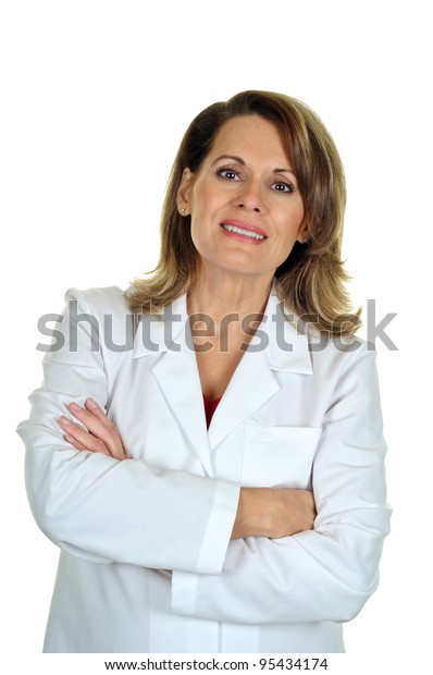 Professional Middle Aged Woman Wearing a Lab Coat