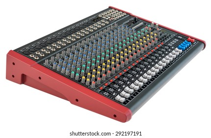 Professional Mixing Console. Music Device Isolated on White Background