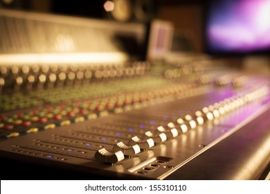 Professional mixing console in studio