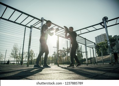 Professional MMA champion having productive training outdoors and performing the stances with his trainer