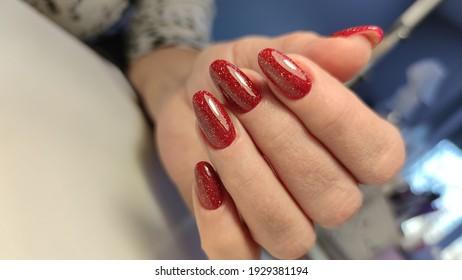 a professional modern gel manicure. Beauty hands.