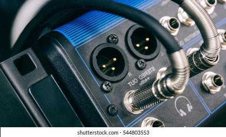 professional music mixer, macro photo music remote control, professional sound. Technical progress in music. Film texture & Unfocused