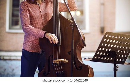A professional musician, dressed in a pink plaid shirt and blue pants, plays a jazz melody on a string-bow instrument - contrabass without a bow