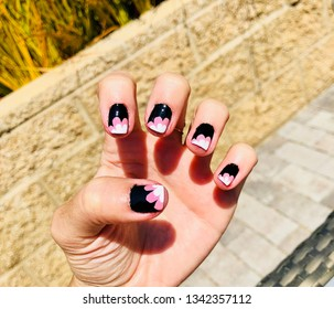 Professional Nail Art Polish Design on Woman's Hand in the Sunshine