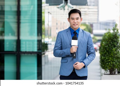 professional news reporter live broadcasting on urban