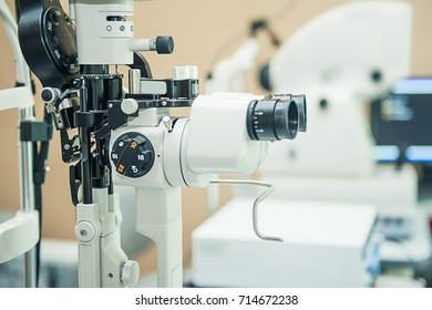 Professional optometrist diopter tool in an optician laboratory. Medical and health concept. Selective focus