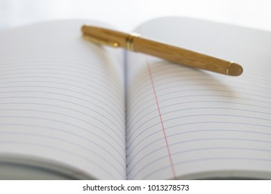 Professional pen on open notebook with blown out background
