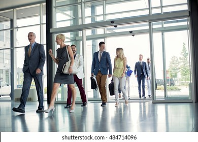 professional people walking on the way in building
