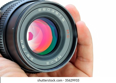 professional photo lens closeup