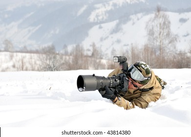 professional photographer outdoor in winter