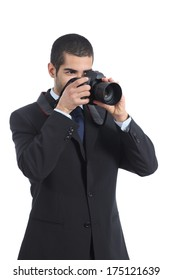 Professional photographer photographing with a digital dslr camera isolated on a white background
