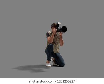 Professional photographer pose with camera