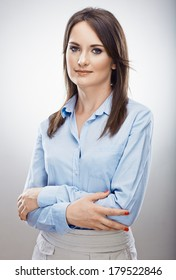 Professional portrait of business woman. Isolated studio background.