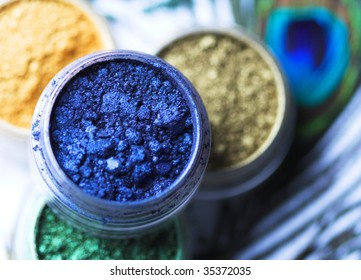 Professional powder eye-shadows of bright colors and peacock feather