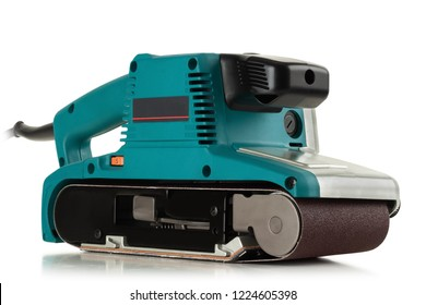 Professional, powerful, electric belt sander on white background