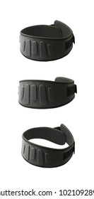 Professional powerlifting belt isolated over the white background , set of several different foreshortenings
