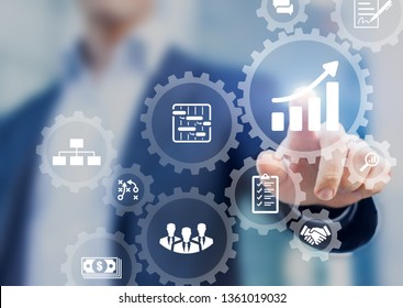 Professional project manager presenting management skills concepton interface with icons of planning schedule of tasks and deliverables, budget, team work, scope, risks, strategy, with gears