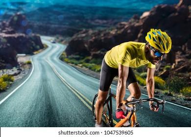 Professionelles Fahrradrennen in Aktion