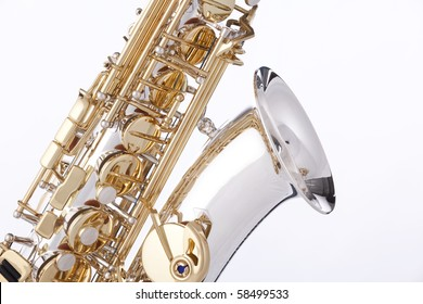 A professional saxophone isolated against a white background in the vertical format.