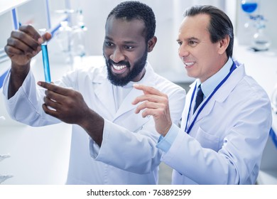 Professional scientists. Pleasant nice positive scientist standing behind his colleague and smiling while looking at the test tube