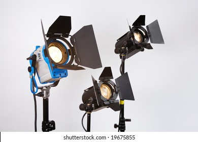 professional searchlights on shooting platform