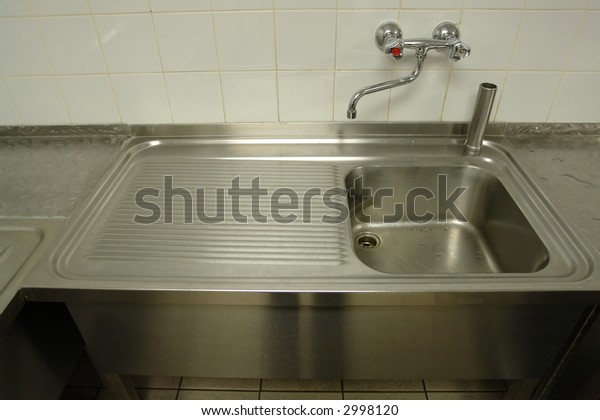 Professional Sink Systems Industrial Kitchen Stock Photo