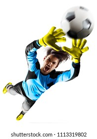 Professional soccer goalkeeper in the action on white background