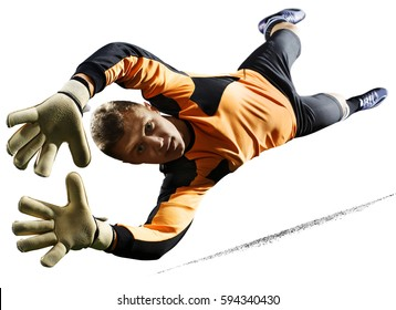 Professional soccer goalkeeper in action on white background