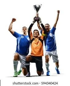 Professional soccer players celebrating victiry