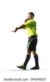 Professional soccer referee isolated on white background