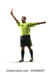 Professional soccer referee red card isolated on white background