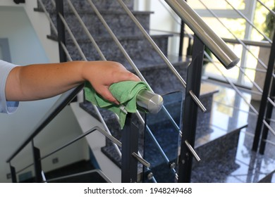 Professional staircase cleaning, close up