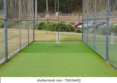 Professional Steel Cricket Cage on the green field.