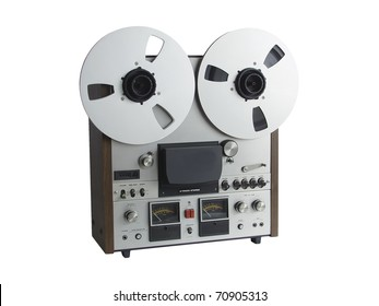 Professional studio audio tape deck detail, isolated on white
